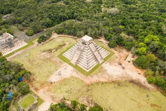 Aerial top down view of Chichen Itza pyramids, Mexico.