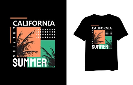California summer, stylish t-shirts and trendy clothing designs with lettering, and printable, vector illustration designs.