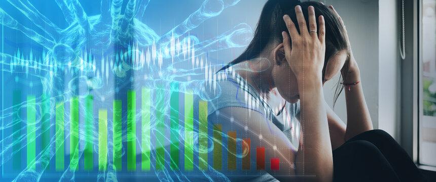 Woman mental health illness sitting sad headache stress business stock market economic downturn, home quarantine fear Coronavirus COVID-19 outbreak. Double exposure 3D virus graph background banner.