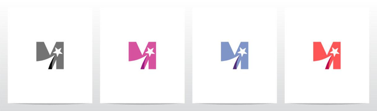 Shooting Star On Letter Logo Design M