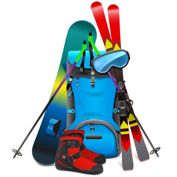 Vector Ski Travel Concept with Rucksack