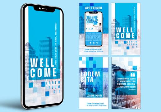 Multipurpose Business Blue Social Media Kit Layouts