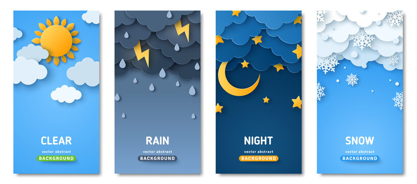 Vertical posters set with fluffy clouds. Weather forecast app widgets. Thunderstorm, rain, sunny day, night and winter snow. Vector illustration. Paper cut style. Place for text