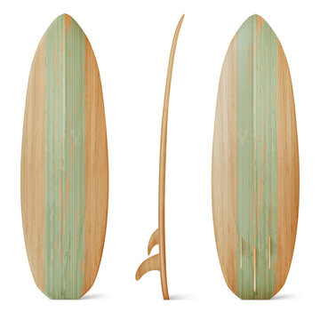 Wooden surfboard front, side and back view. Vector realistic mockup of wood board for summer beach activity, surfing on sea waves. Leisure sport equipment isolated on white background