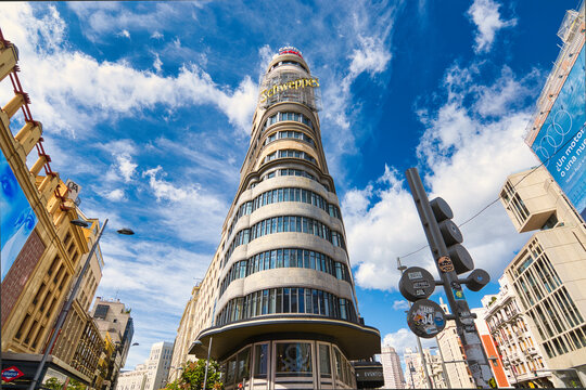 View of the Schweppes building at the Gran Via, main street of the city of Madrid (Spain)