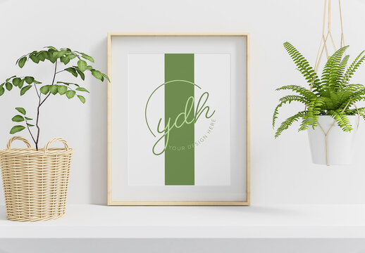 Wooden Poster Frame with Plants