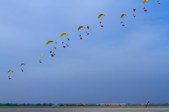 Changchun, Jilin, China: Airborne show in the sky during air show Chinese Air Force