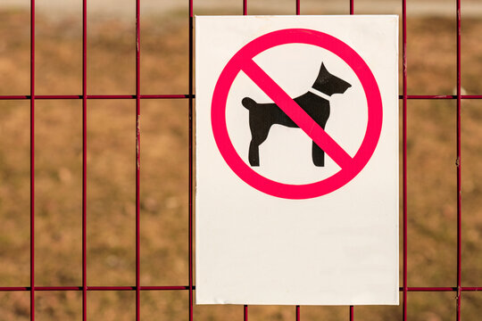 no dog walking sign on the bars, the background is blurred