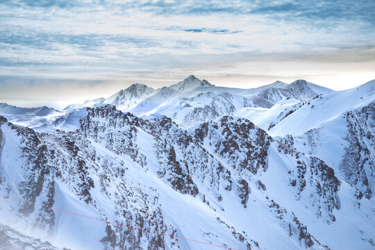 View from Aspen Highlands ridge. Colorado Mountains.