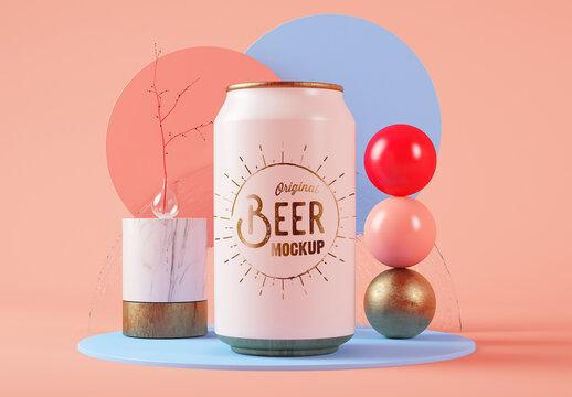 Beer Can Mockup on Surreal Set