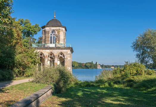 Gothic Library on the shore of the Heilige See (Holy Lake) in Potsdam, Germany