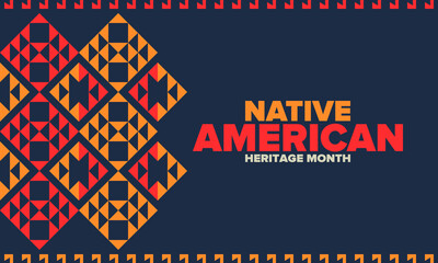 Obraz Native American Heritage Month in November. American Indian culture. Celebrate annual in United States. Tradition pattern. Poster, card, banner and background. Vector ornament, illustration - fototapety do salonu