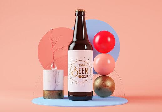 Beer Bottle Mockup on Abstract Set