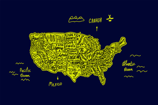 A map drawn in the Doodle style of the United States of America. Illustration of a trip to the US States and attractions with lettering of names drawn by hand in bright green color. America in cute