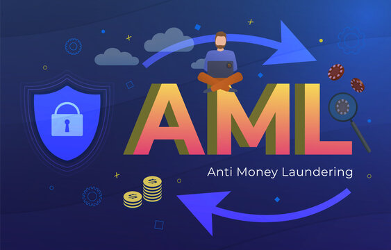 Anti Money Laundering (AML acronym) Business Concept. Stop illegal dirty money and financial bank corruption. Man with a laptop and inconspicuous bitcoin sticker around the casino chip and fiat money