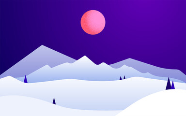 Mountain peaks Vector illustration in trendy colors Night winter landscape with pink moon, snow mountains and pine trees