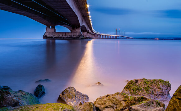 This amazing bridge connects England and Wales. This picture was taken very early,it was a mix of night and sunrise.