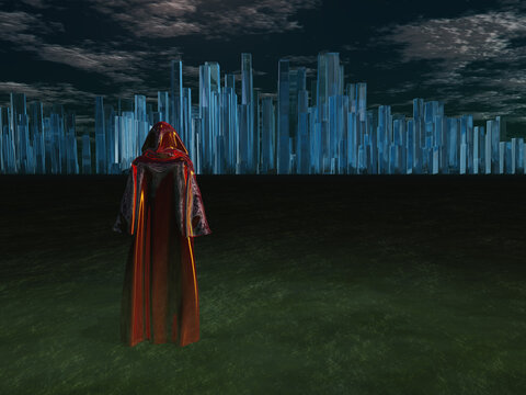 Traveler before the great city. 3D rendering