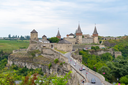 View at Kamenets Pidolskiy castle and bridge from the hill, famous ukranian fortress and touristic place.