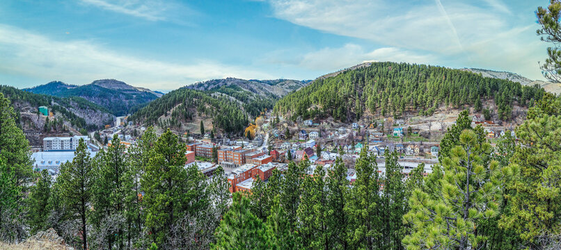 View from above of historical wild west town of Deadwood in South Dakota USA.