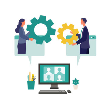 Metaphor of teamwork, strategy, connecting. Flat design vector illustration of business people.