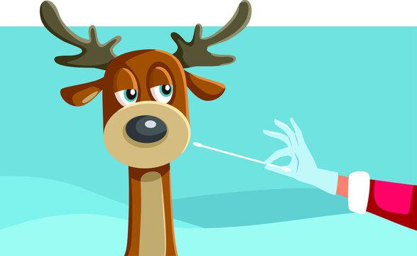 Reindeer Being Swabbed for a Covid-19 Test by Santa Claus