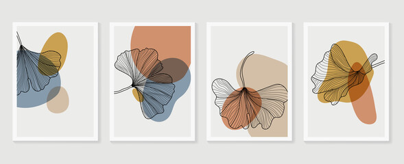 .Botanical wall art vector set. Earth tone boho foliage line art drawing with  abstract shape.  Abstract Plant Art design for print, cover, wallpaper, Minimal and  natural wall art.