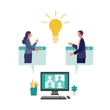 Metaphor of cooperation, create an idea, brainstorming. Flat design vector illustration of business people.