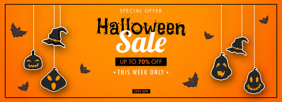 Halloween Sale Header or Banner Design with 70% Discount Offer, Flying Bats, Sticker Style Witch Hat and Jack-O-Lanterns Hang on Orange Background.