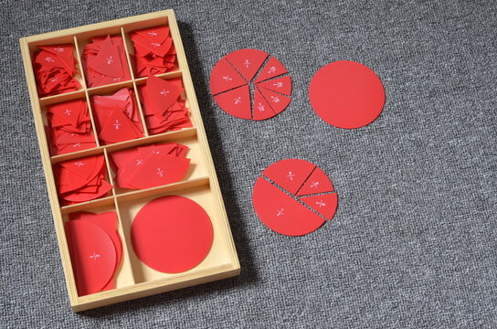 montessori math fraction material in wooden box