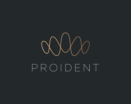 Abstract linear gold gradient crown logo design template. Premium waves sound vibrations voice elegant vector icon sign logotype.