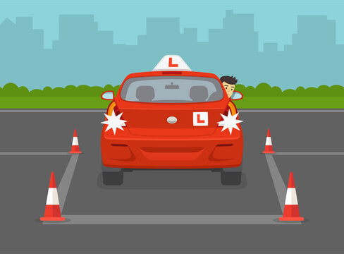 British student driver trying to reverse park. Back into a parking lot. Driving lesson. Flat vector illustration template.