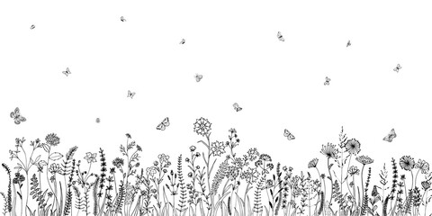 Fototapeta Wildflowers and grasses with various insects. Fashion sketch for various design ideas. Monochrom print.