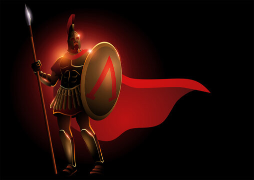 Spartan warrior wearing helmet and red cloak