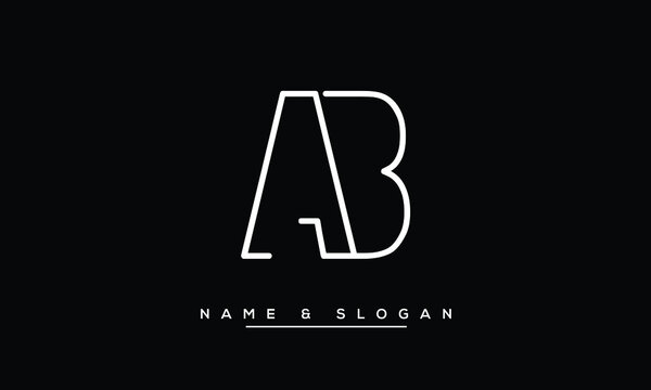 AB, BA, A, B  Abstract Letters Logo Monogram
