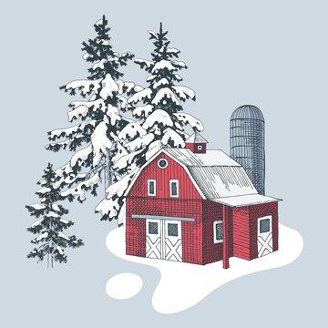 Hand drawn winter landscape with farm
