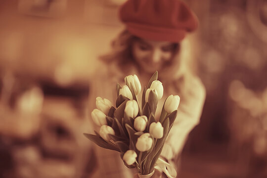 spring flowers bouquet / beautiful girl with spring flowers of white tulips, happiness, wedding, holiday