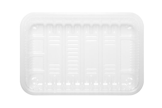 Transparent plastic food tray isolated on white background. top view.
