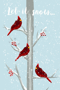 Red Cardinal Christmas birds sitting on a snow covered tree. Winter landscape greeting card template. Let it snow lettering text. Poster, winter decor, Holiday post cards