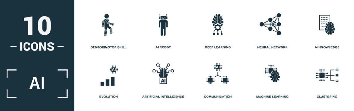 Ai icon set. Monochrome sign collection with evolution, artificial intelligence, communication, machine learning and over icons. Ai elements set.