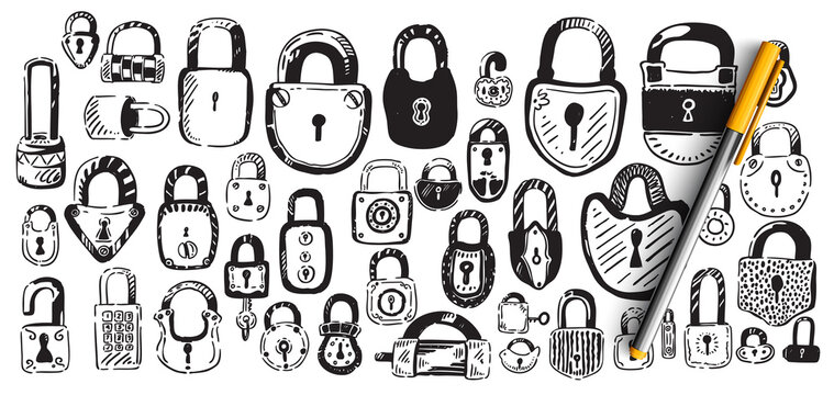 Locks doodle set. Collection of hand drawn sketches patterns templates of different shape metal door padlocks on white background. Safety protective equipment from robbery illustration