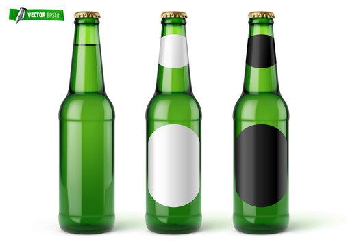 Bouteilles de bière vectorielles sur fond blanc