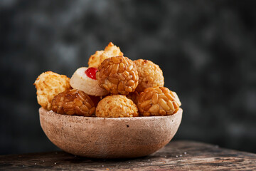panellets, typical confection of Catalonia, Spain
