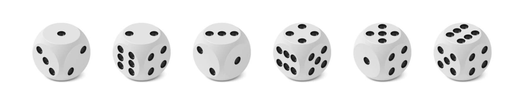 Set of six realistic isometric game dices with rounded edge and angle