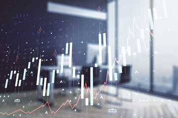 Multi exposure of abstract creative financial graph and modern desktop with computer on background,...