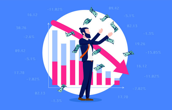 Short selling stocks - Man earning money by shorting in stock market. Finance and trading concept. Vector illustration