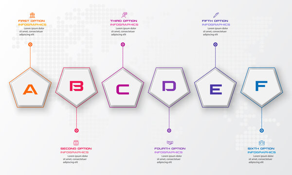 Pentagon element for infographic,Business concept with 6 options,Vector illustration.