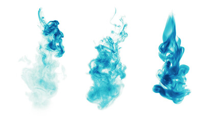 Blue fire smoke blot on white background.