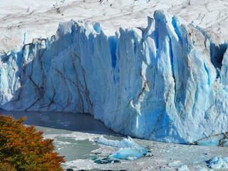 Large blue glacier Perito Moreno and lake in Patagonia