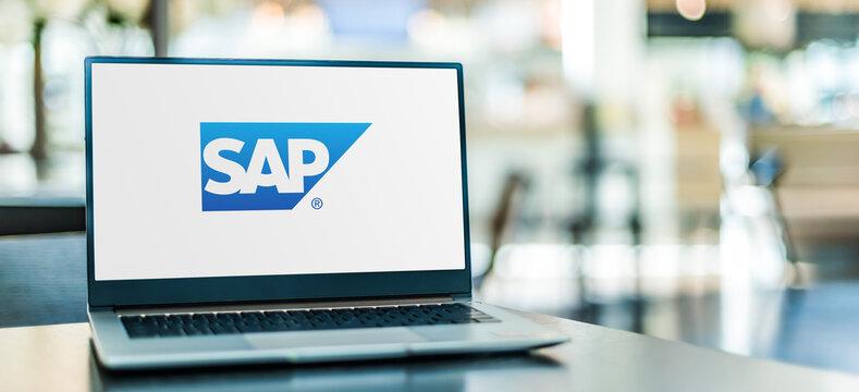 Laptop computer displaying logo of SAP